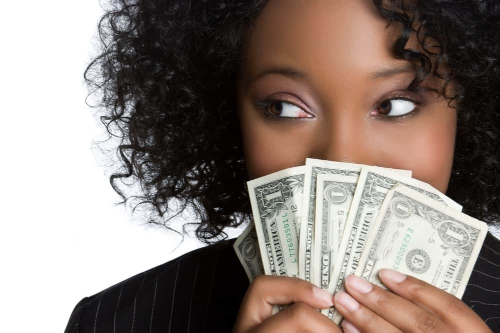 woman holding instant online money