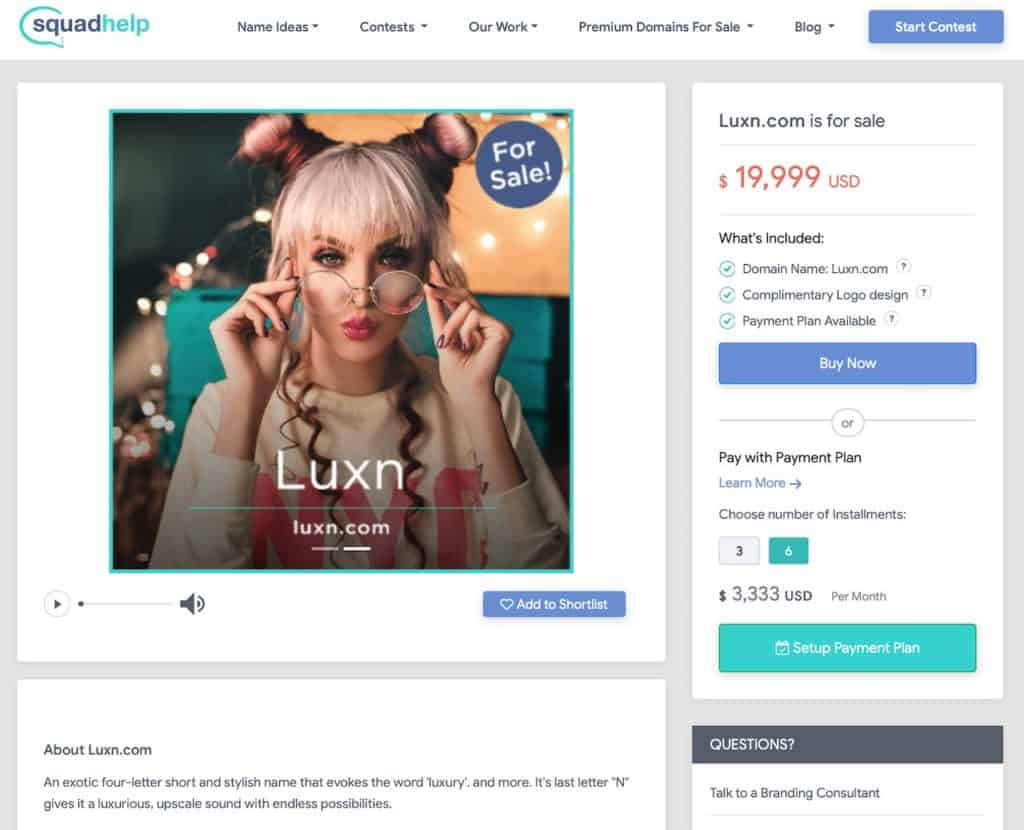Squadhelp Marketplace make money selling names for companies