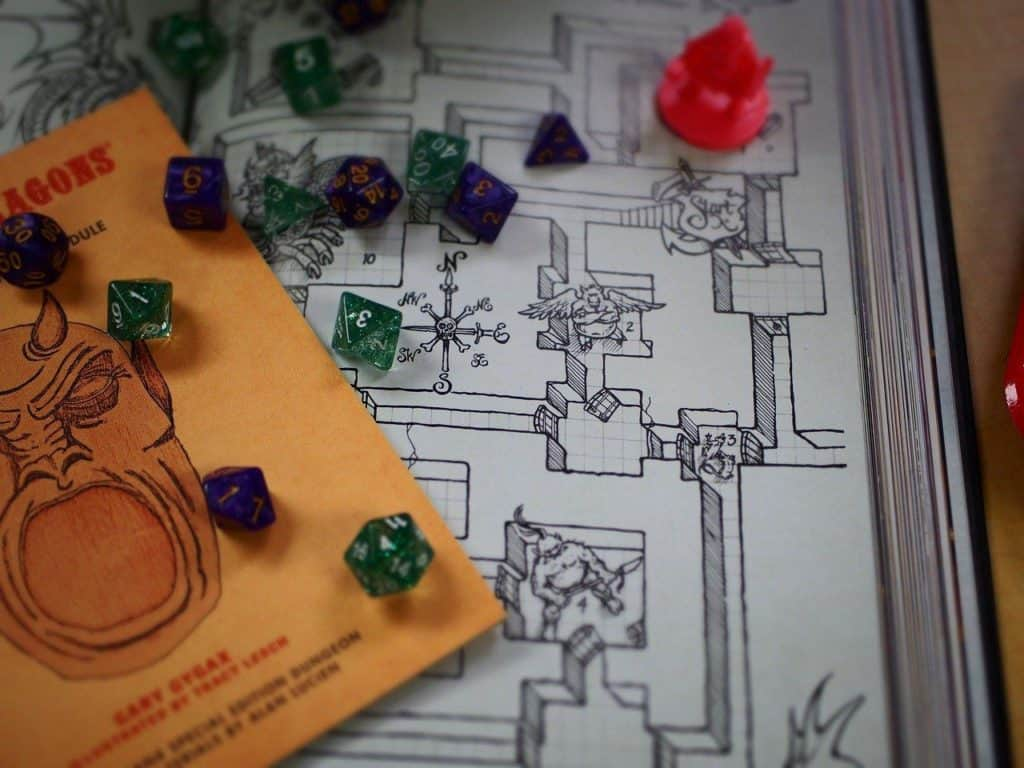dnd map and dice