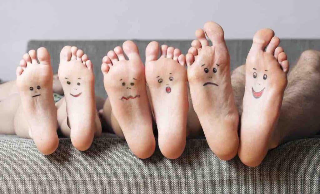 close up of feet with smileys