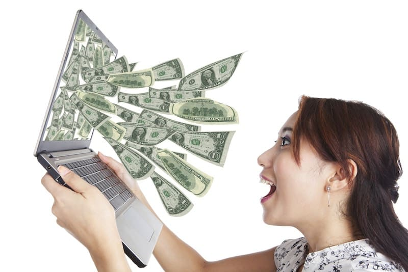 woman looking at making money online