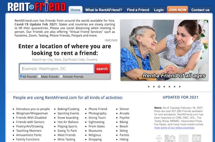 Rent a Friend get paid to be a virtual friend