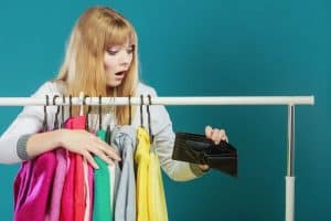 woman spending too much money on things