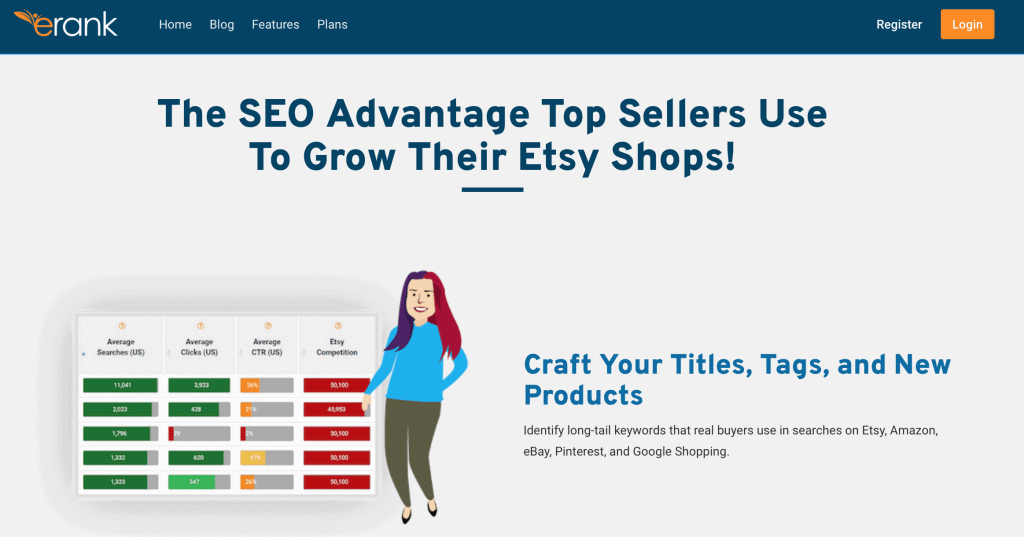 eRank SEO for Etsy best things to sell on etsy to make money