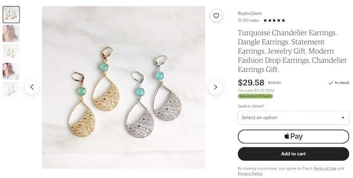 jewelry for sale on Etsy example