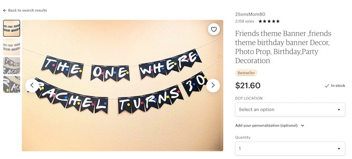 party decorations example friends banner on Etsy